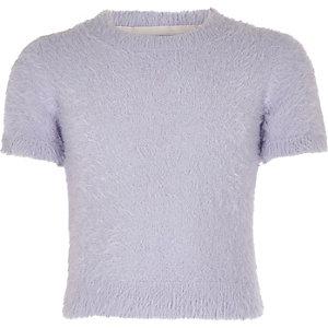 T-shirt en maille duveteuse violet pour fille