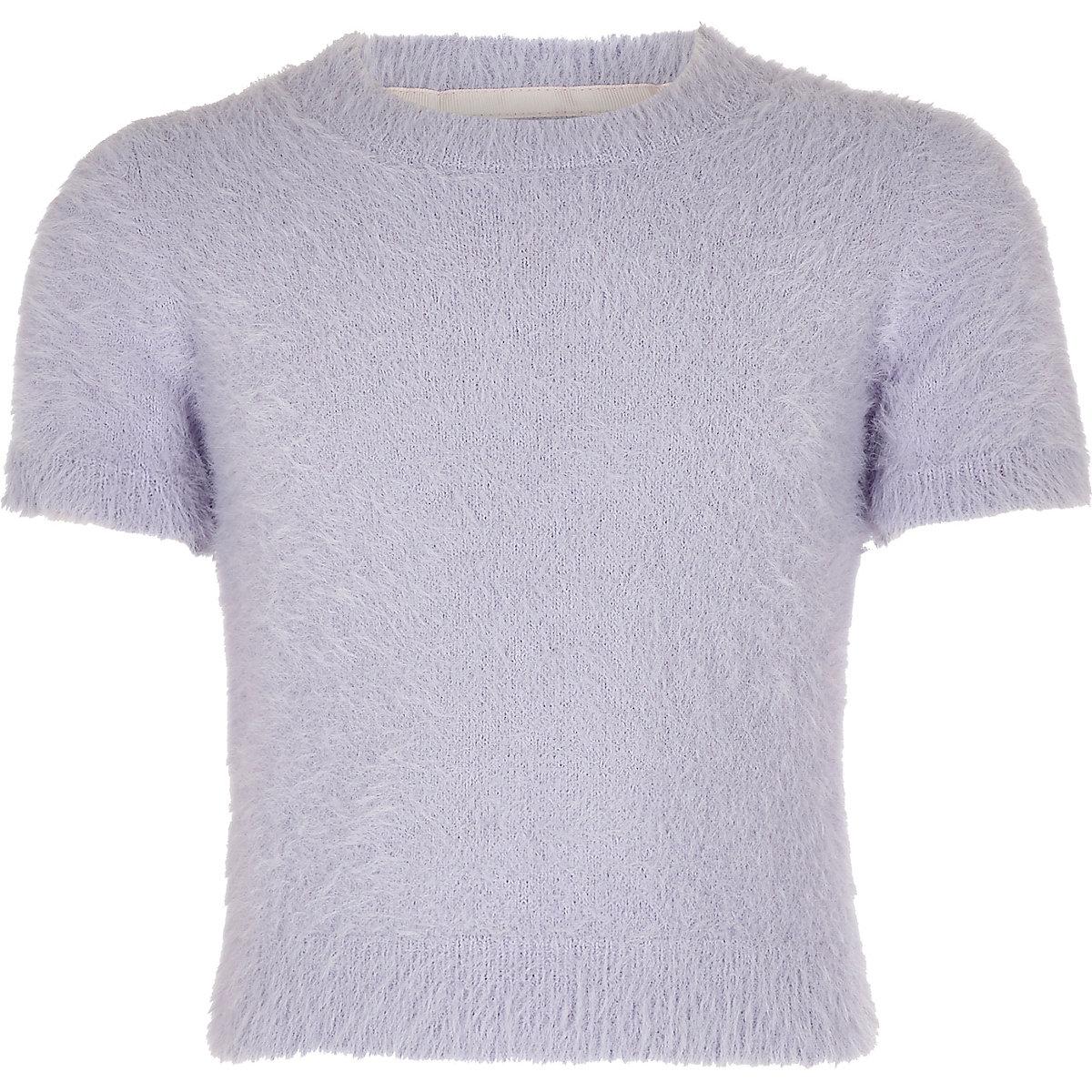 Girls purple fluffy knit T-shirt