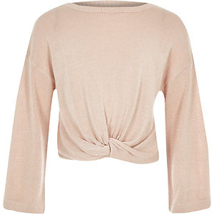 Girls pink knot front long sleeve top
