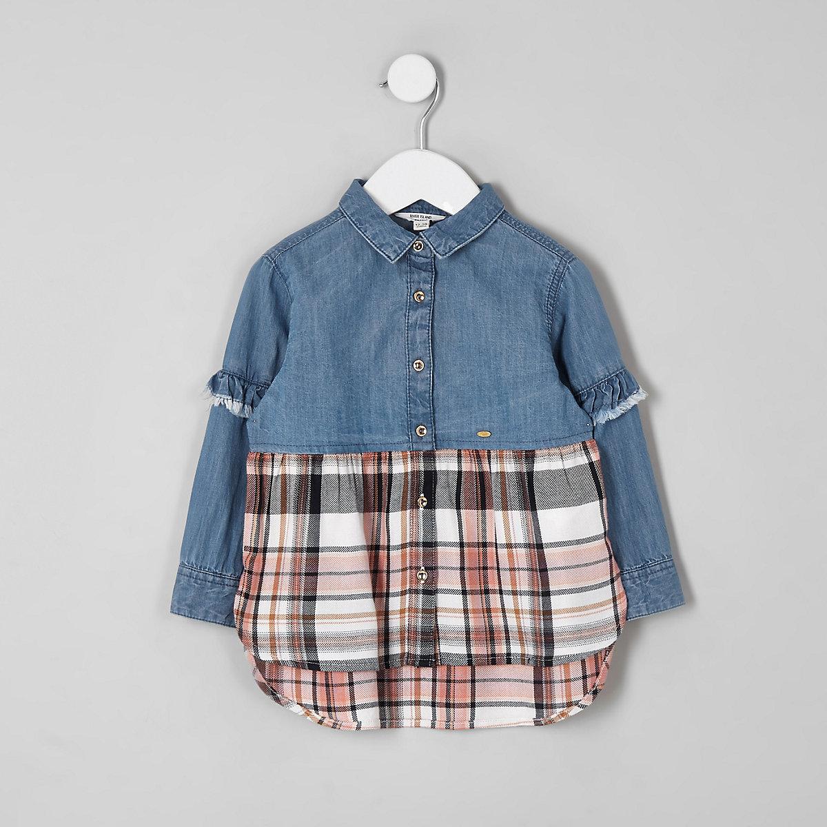 Mini girls denim check shirt