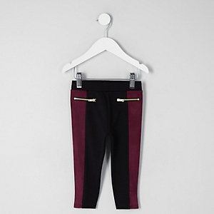 Mini girls purple faux suede block leggings