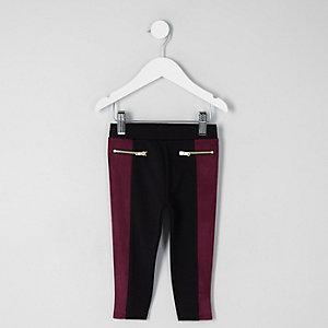 Mini - Paarse legging van imitatiesuède met kleurvlakken voor meisjes