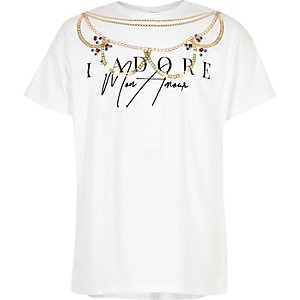 Girls white 'I adore' necklace T-shirt