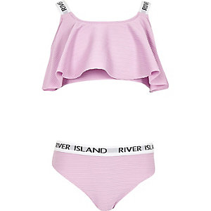 Rode bikiniset met RI-logo en ruches voor meisjes