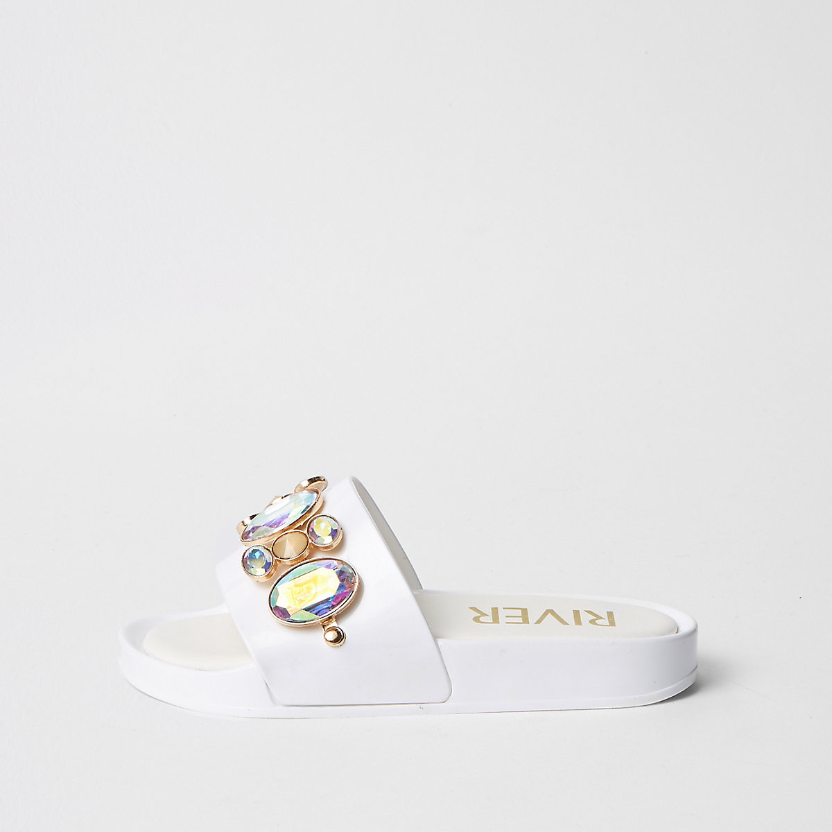 Girls white embellished gem jelly silder