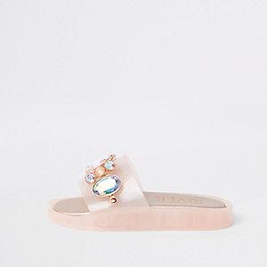 Roze verfraaide jelly slippers voor meisjes