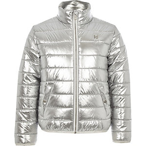Bomberjacke in Silber-Metallic