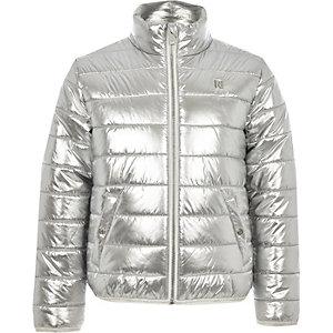 Girls silver metallic bomber jacket