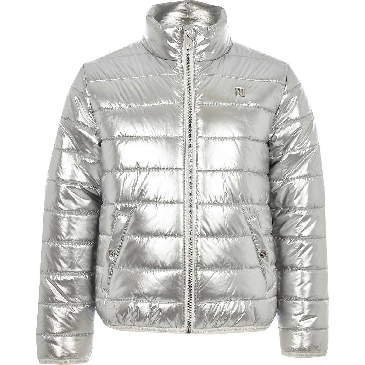 Girls silver metallic bomber jacket