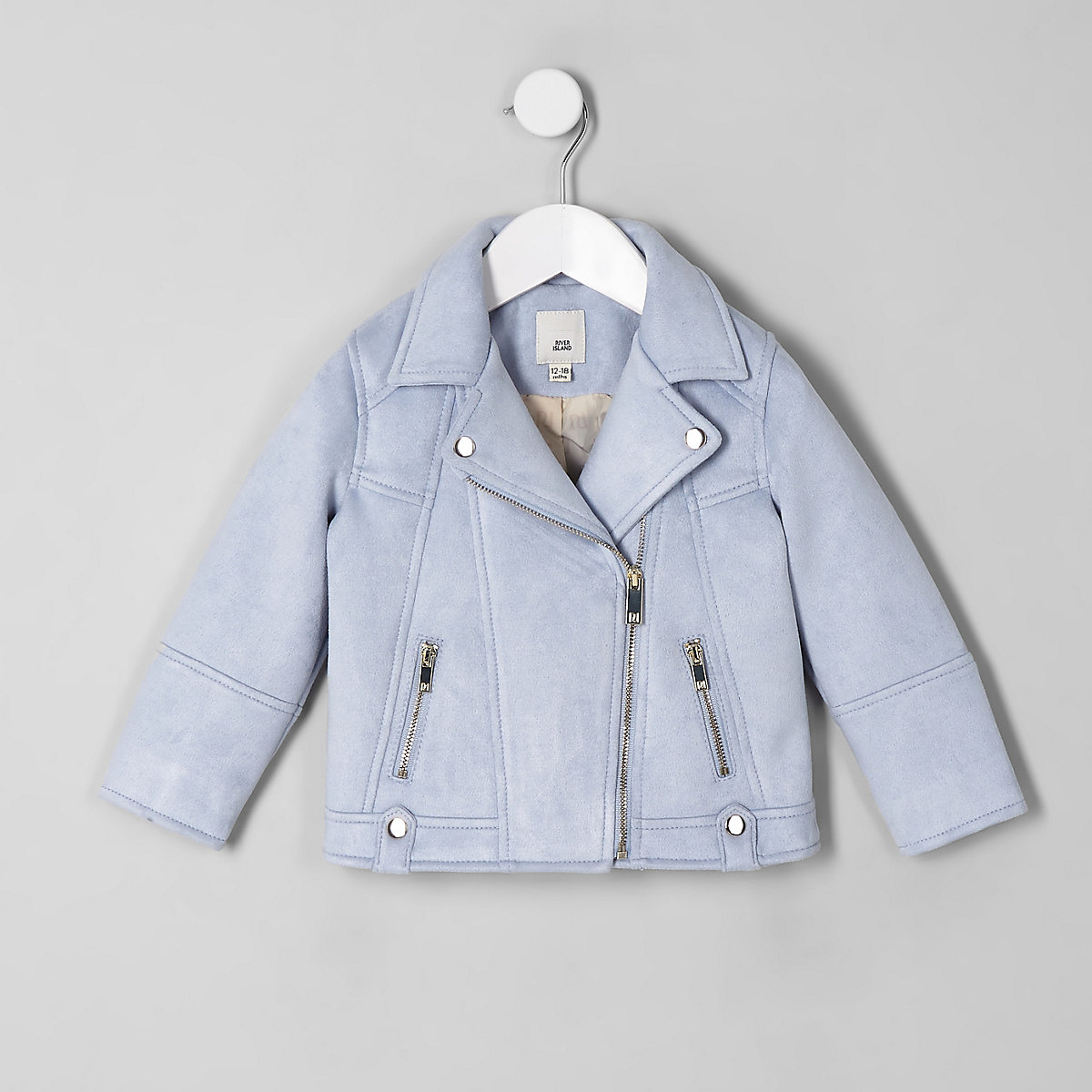 62ef26ffe Mini girls light blue faux suede biker jacket - Baby Girls Coats ...