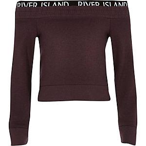 RI Active - Paars sweatshirt in bardotstijl voor meisjes
