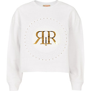 Girls RI Active white circle print sweater