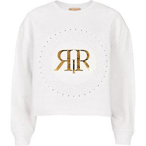 RI Active - Witte sweater met cirkelprint voor meisjes