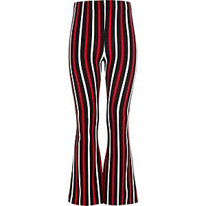 Girls black stripe flared trousers