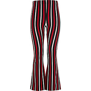 Girls black stripe flared pants