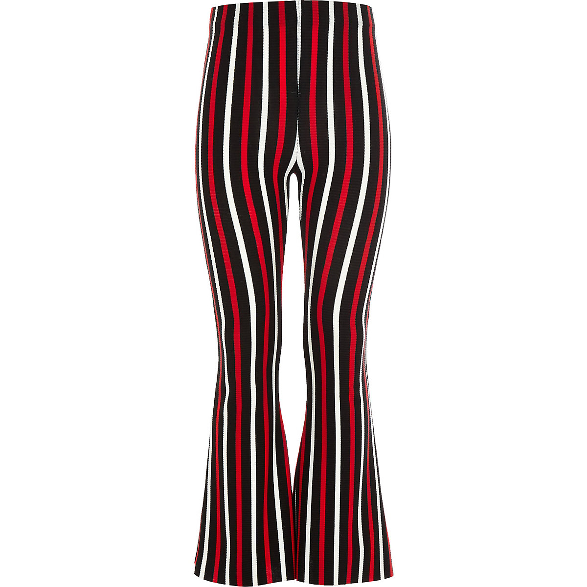 Girls black stripe flared trousers
