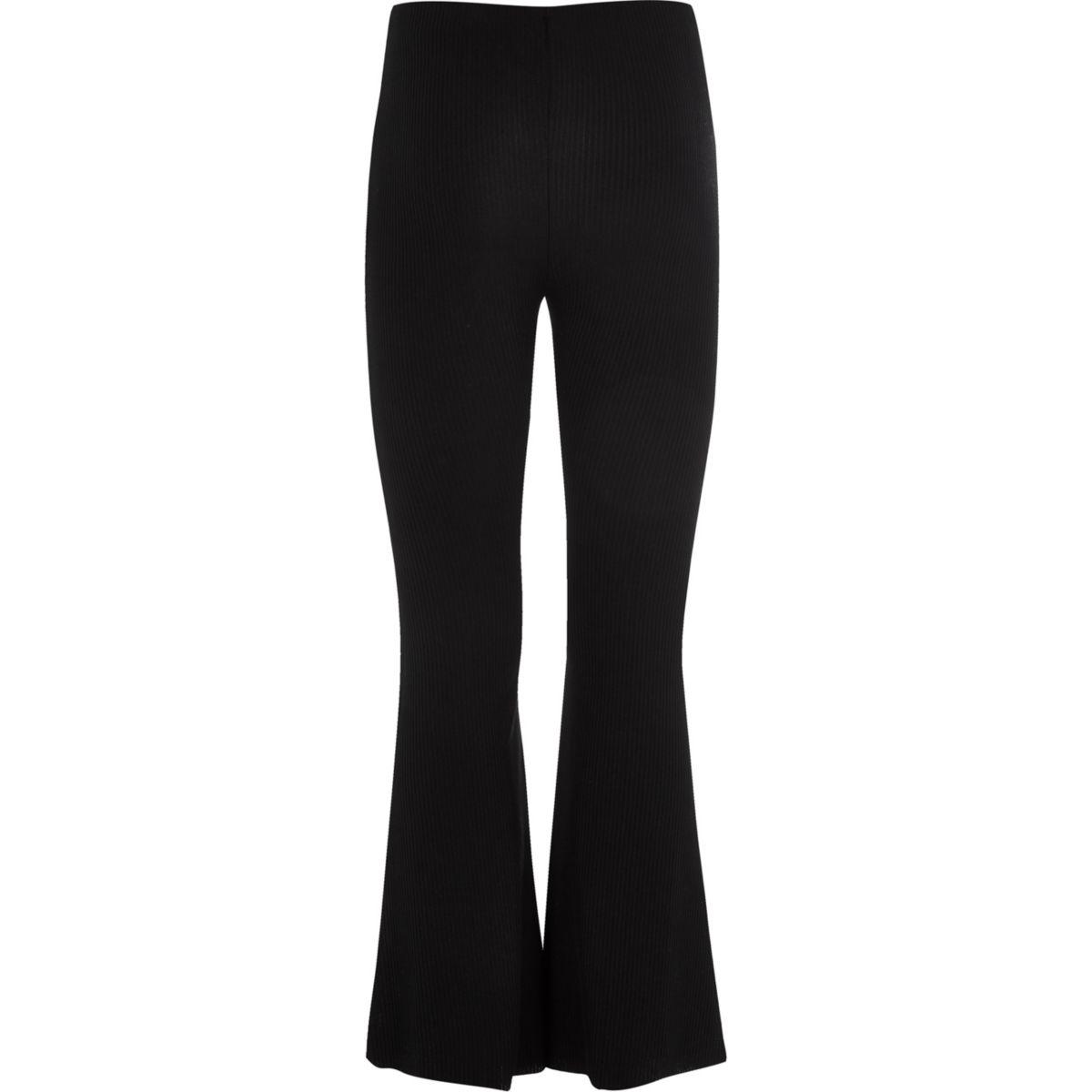 Girls black flared trousers