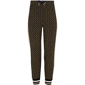 Girls navy gold glitter printed joggers