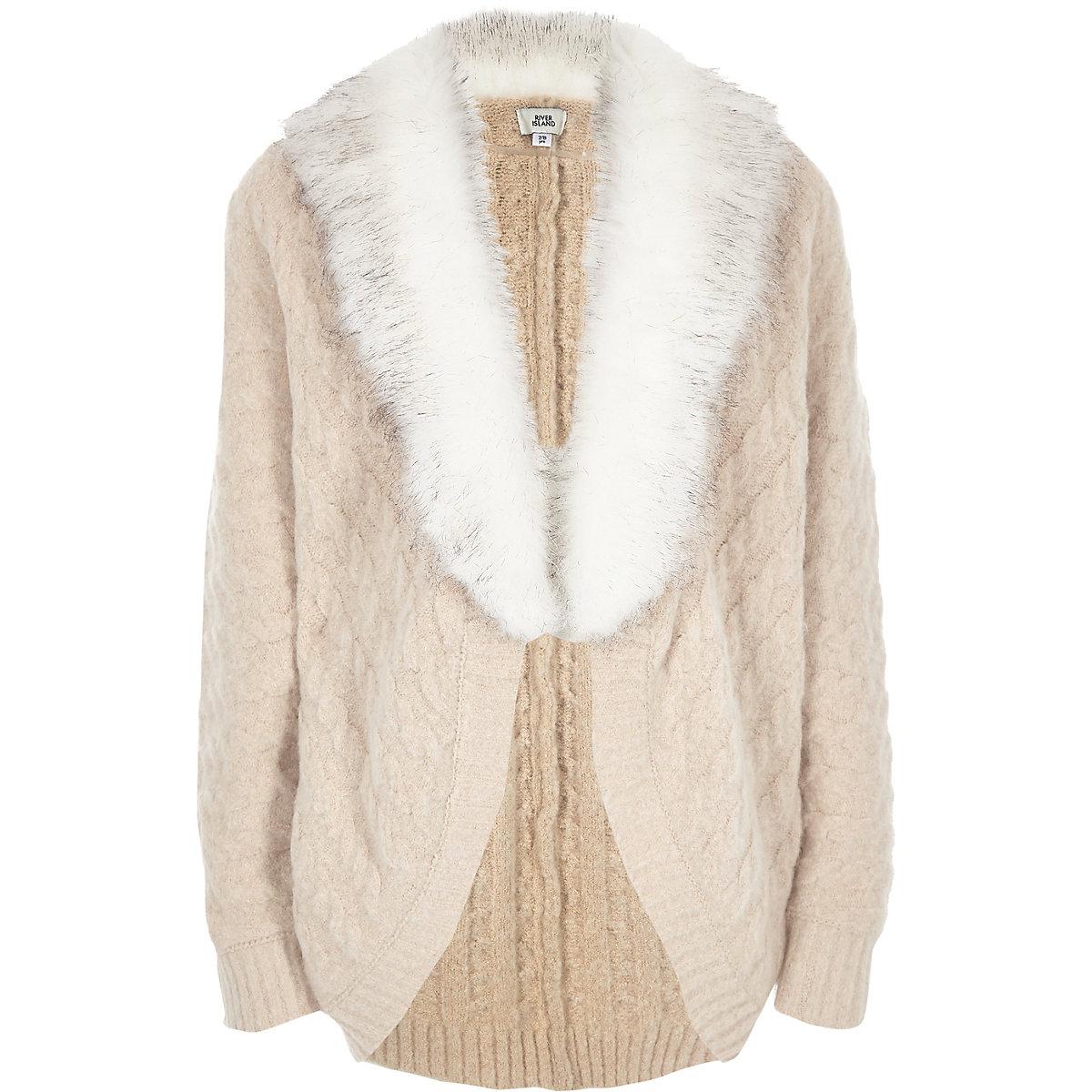 Girls light brown knit faux fur trim cardigan