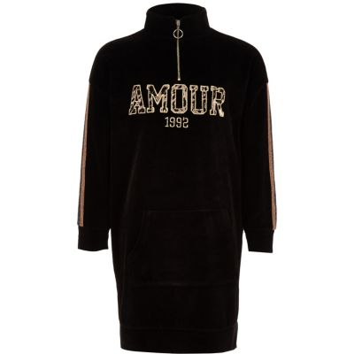 Girls Black 'Amour' Funnel Neck Sweater Dress by River Island