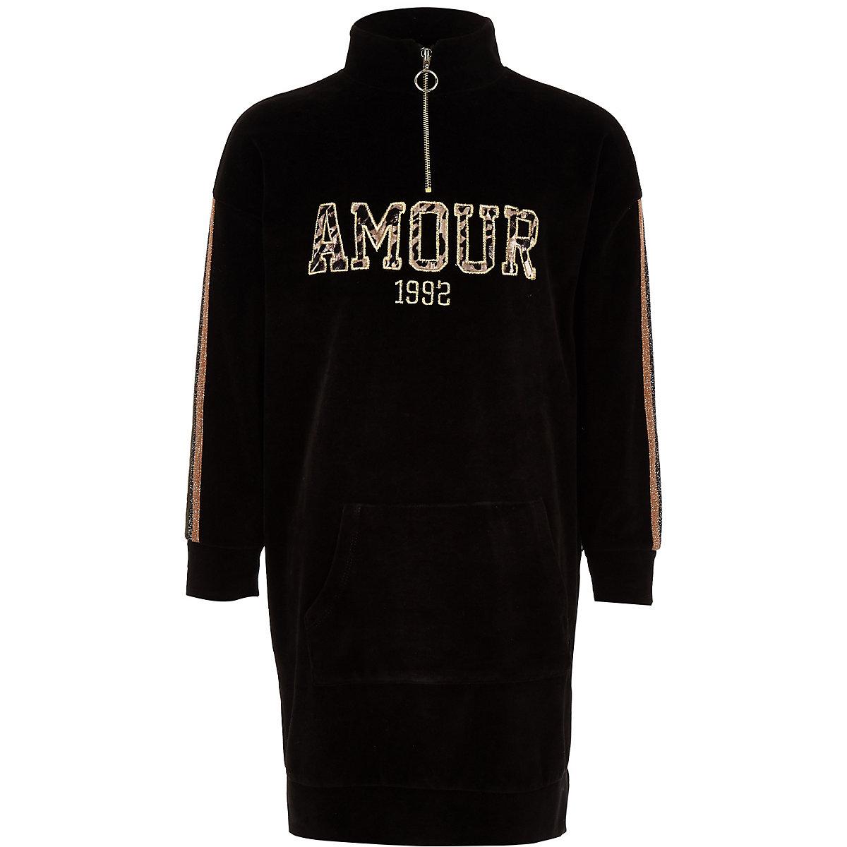 Girls black 'Amour' funnel neck sweater dress