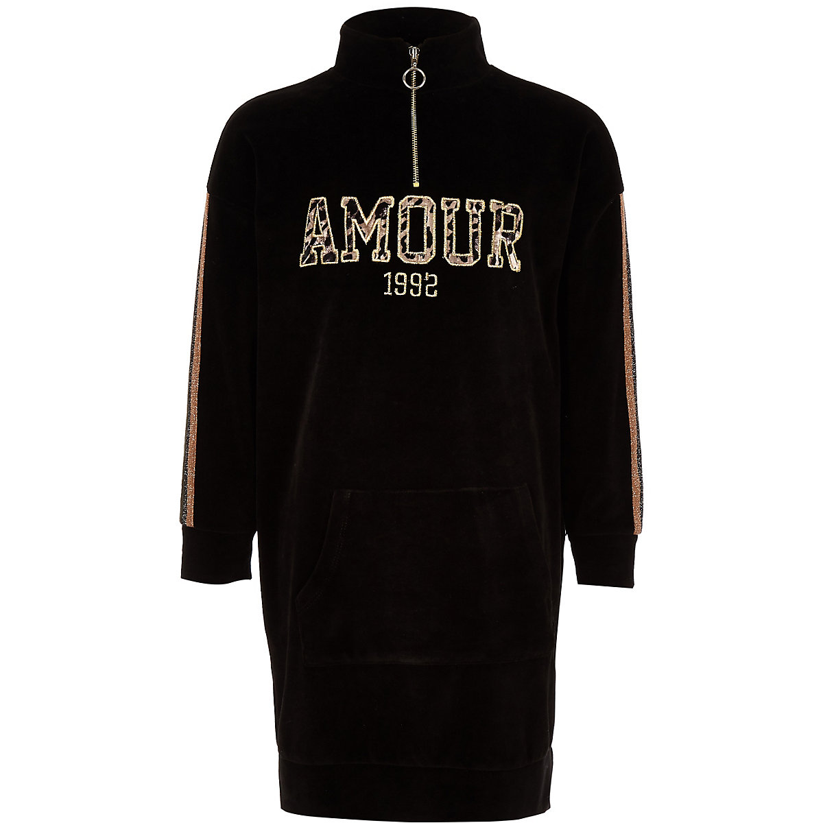 Girls black 'Amour' funnel neck sweater dress