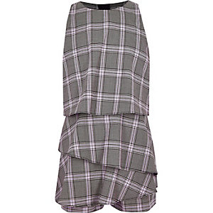 Girls grey check print romper