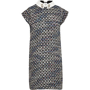 Girls blue boucle rhinestone collar shift dress