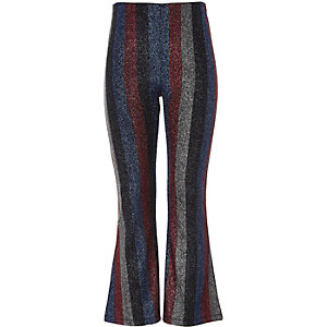 Girls black metallic stripe flared trousers