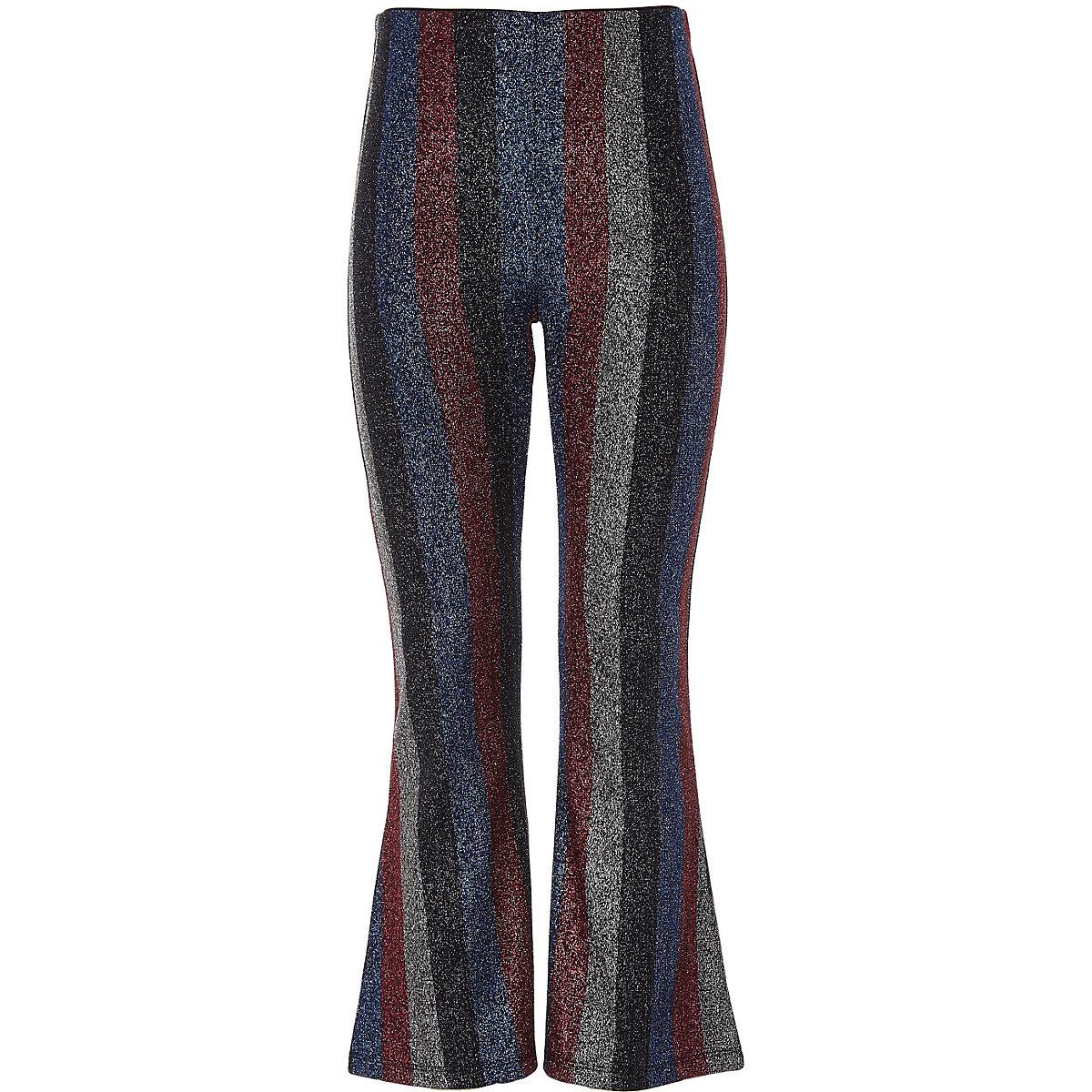 Girls black metallic stripe flared trousers