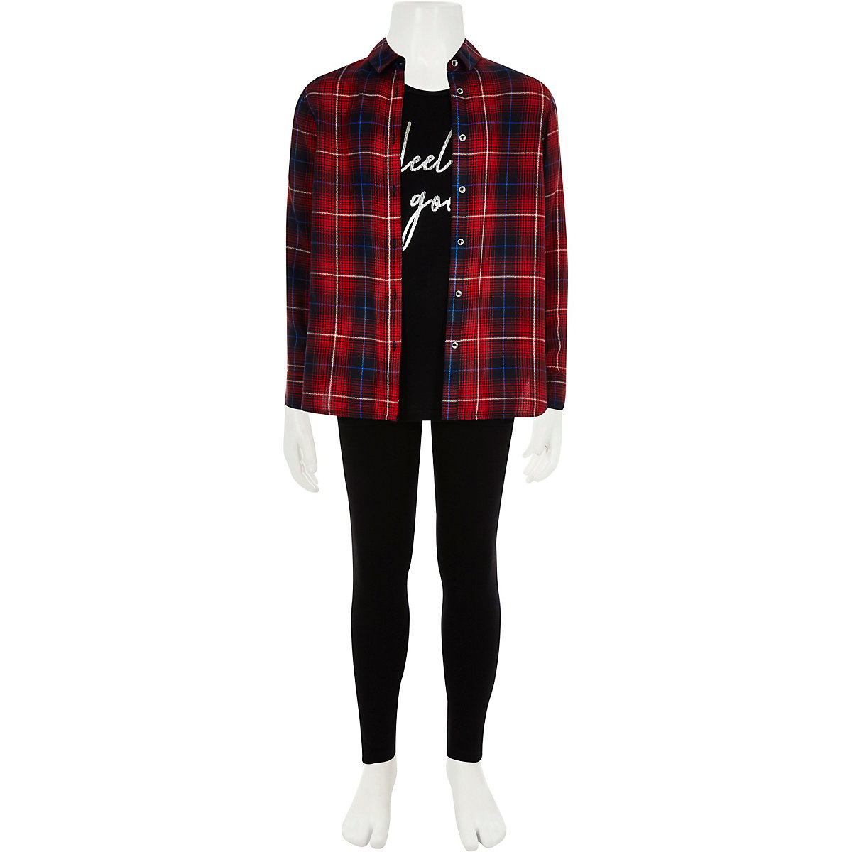 Girls red check shirt and leggings set