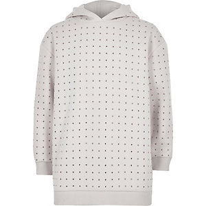 Girls RI Active cream sequin studded hoodie