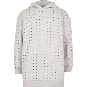 Girls RI Active cream sequin studded hoodie