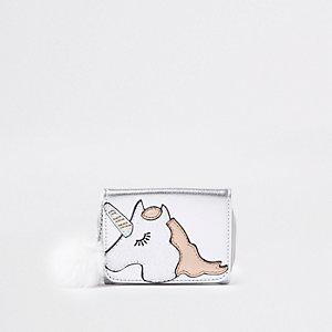 Zilverkleurige metallic portemonnee met eenhoornprint voor meisjes