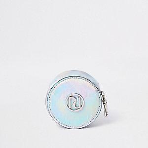 Porte-monnaie rond argenté hologramme RI pour fille