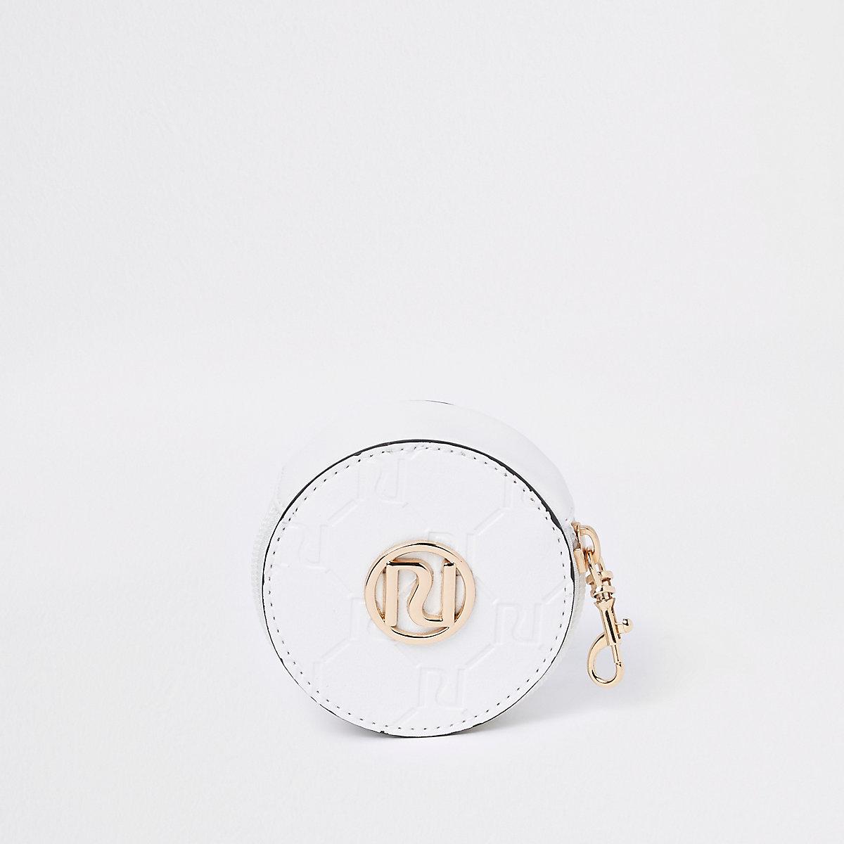 Girls white round coin purse