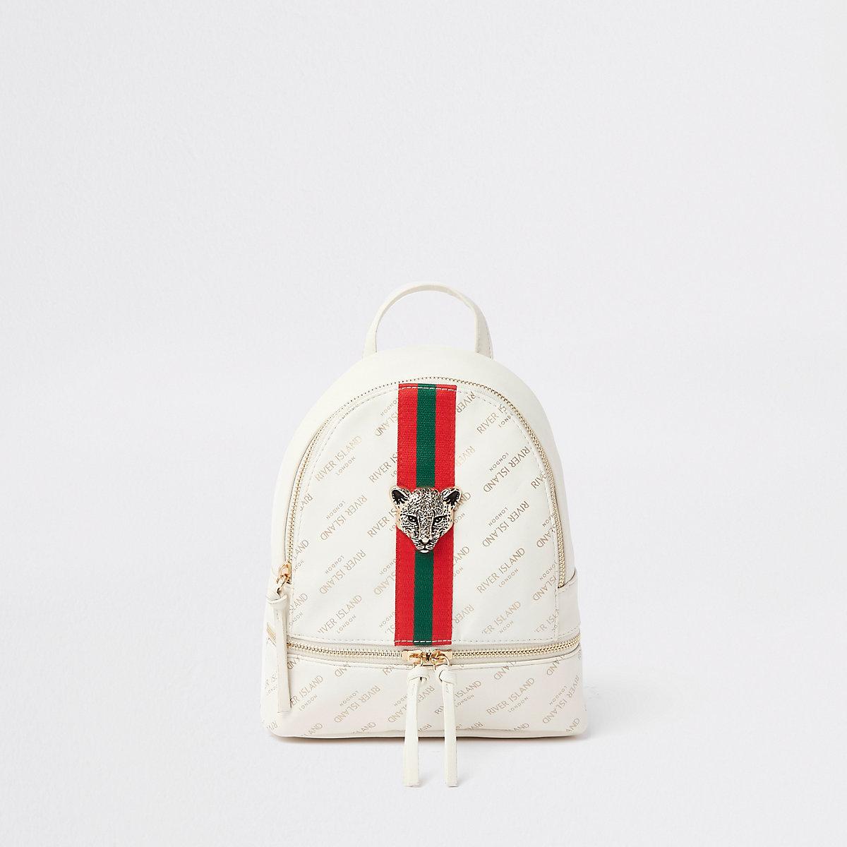 Girls white RI tiger charm backpack