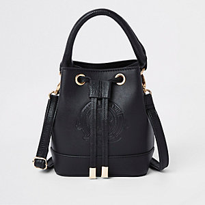 Girls black RI bucket bag