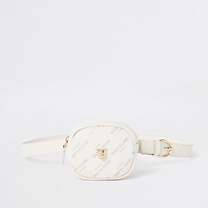 Girls cream RI tiger bum bag
