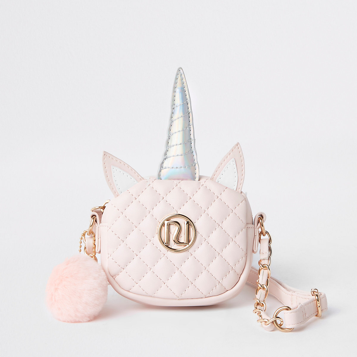 Girls pink quilted unicorn cross body bag