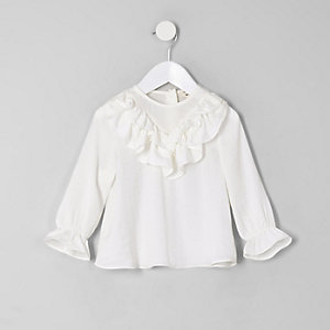 Mini girls white frill top