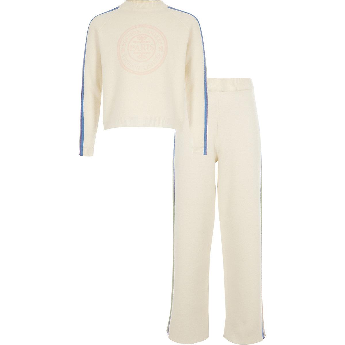 Girls cream rainbow stripe jumper outfit