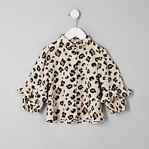 Mini girls beige leopard print frill shirt