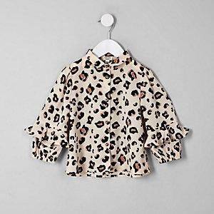 Mini - Beige overhemd met luipaardprint en ruches voor meisjes