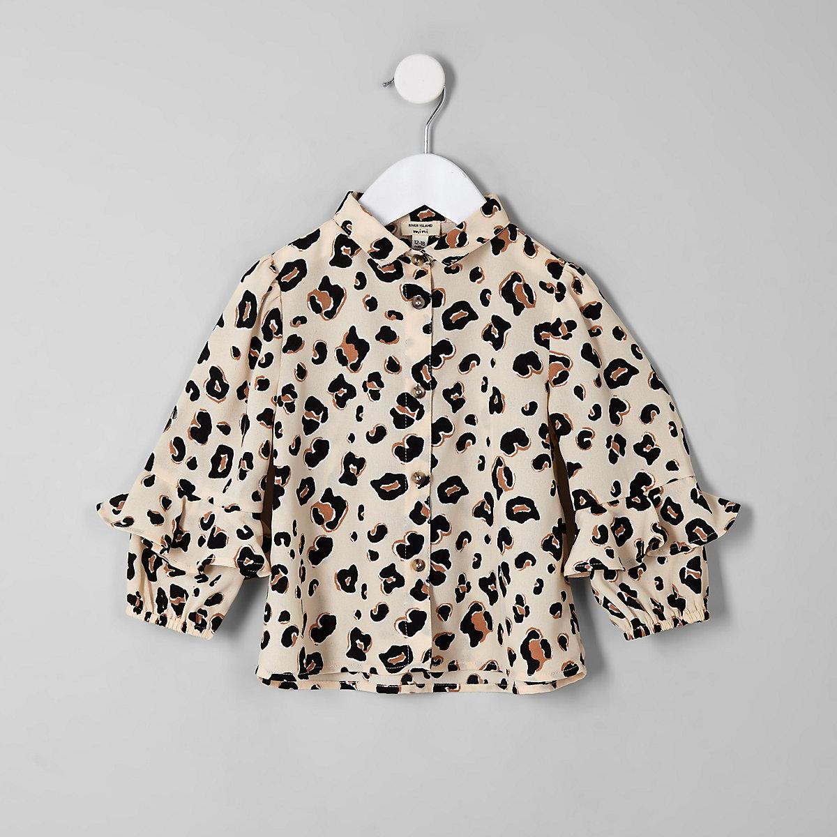 Mini girls beige leopard print frill shirt