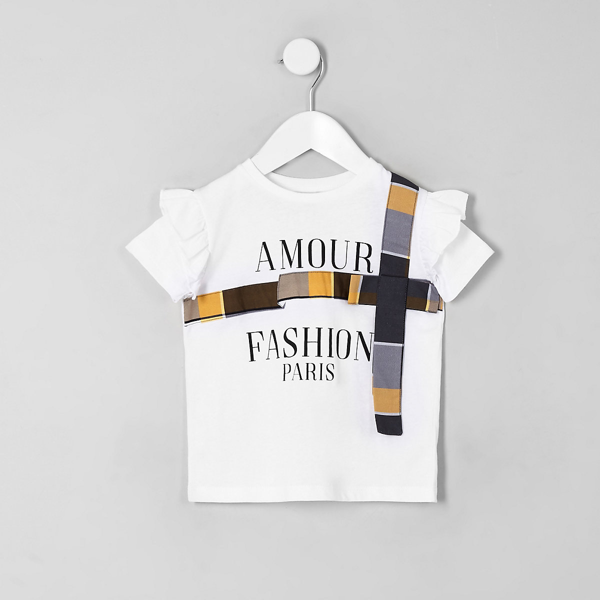 Mini girls white amour bow T-shirt