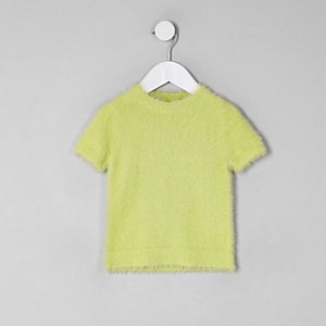 Mini girls green fluffy knit T-shirt
