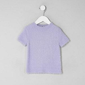 Mini - Paars pluizig gebreid T-shirt voor meisjes