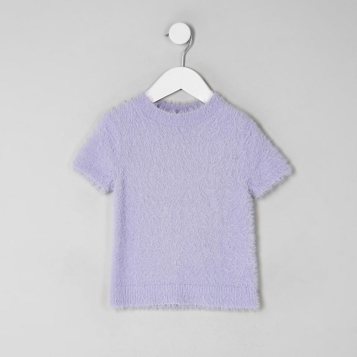 Mini girls purple fluffy knit T-shirt
