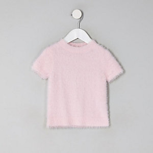 Mini girls pink fluffy knit T-shirt
